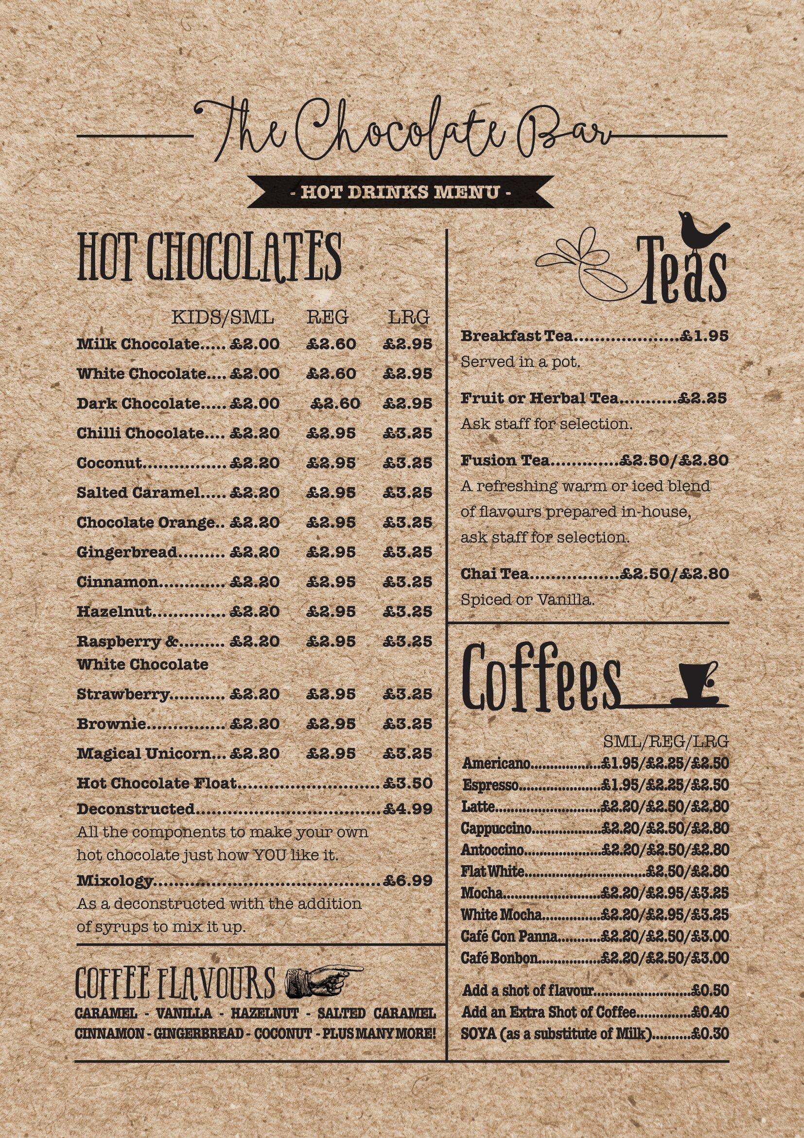 rustic style hot drinks menu