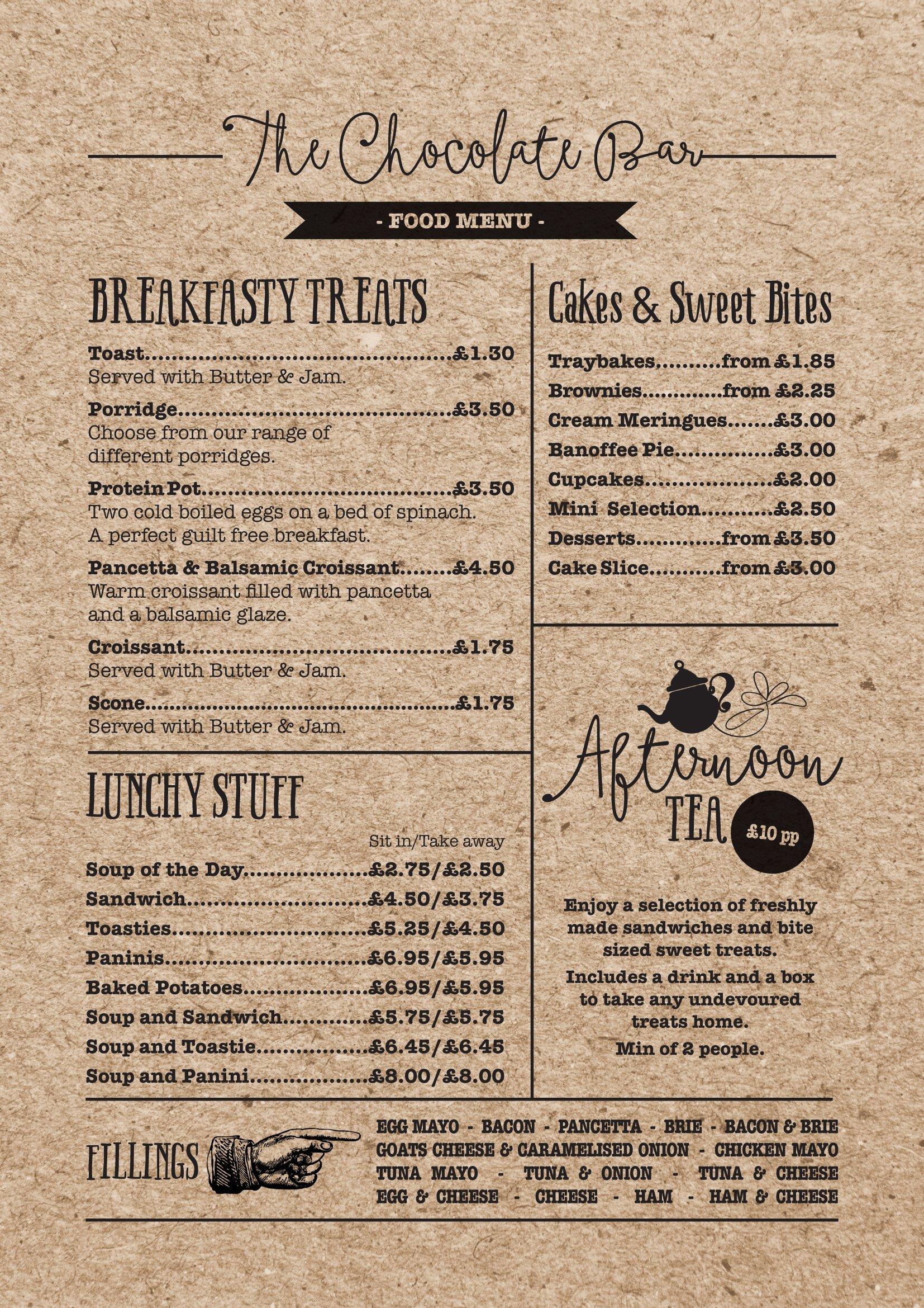 vintage design of a food menu