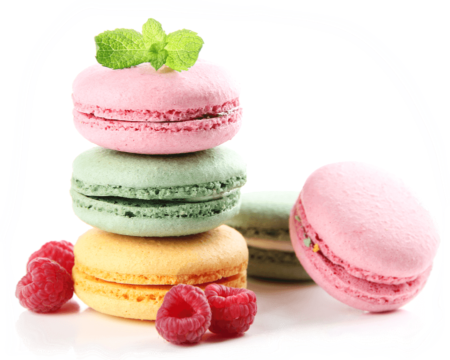 pink, green and yellow macaroons