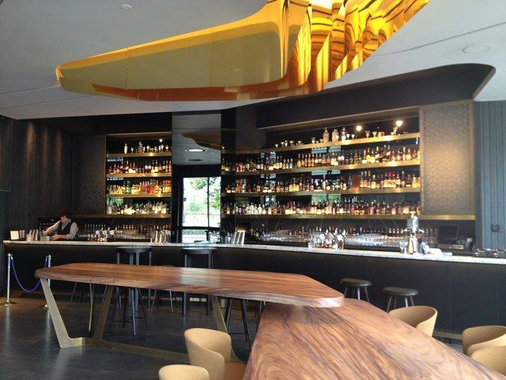 restaurant with metal shelves