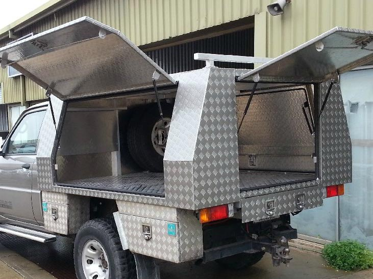 truck with metal compartment