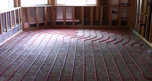 Installation of heating system in progress in Eagle River, AK