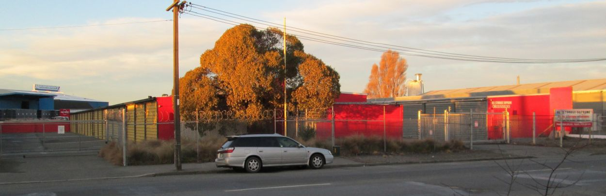 Outside secure storage facilities in Christchurch