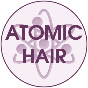 Atomic hair logo