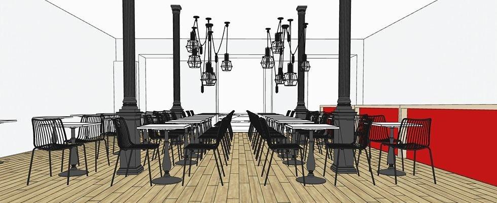 riproduzione 3d d'arredo per ristorante
