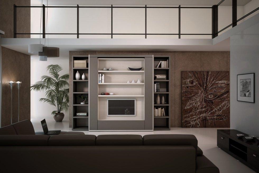living room con letto a scomparsa clei