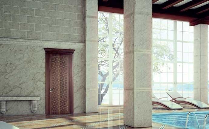 porta in legno per centro benessere