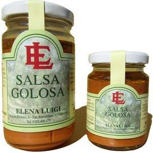 Salsa golosa, peperoni, acciughe, olive taggiasche, prodotti tipici, elena luigi