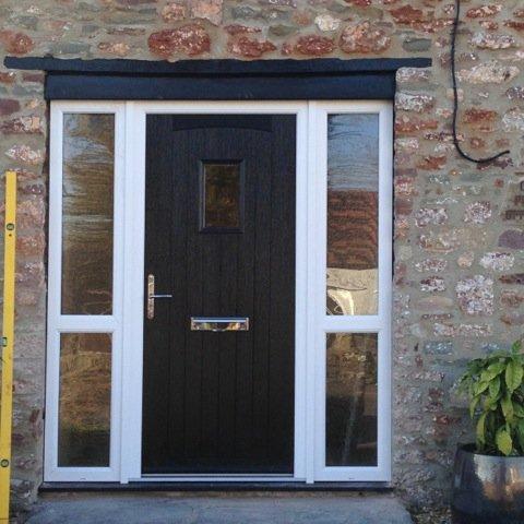 wooden and glass door