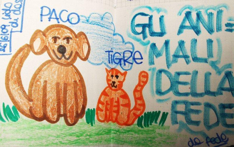 disegno di un cane e un gatto con scritto Paco e Tigre Gli Animali Della Fede