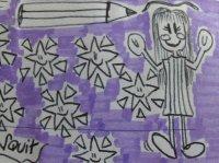un disegno raffigurante una bambina, delle stelle e una grande matita