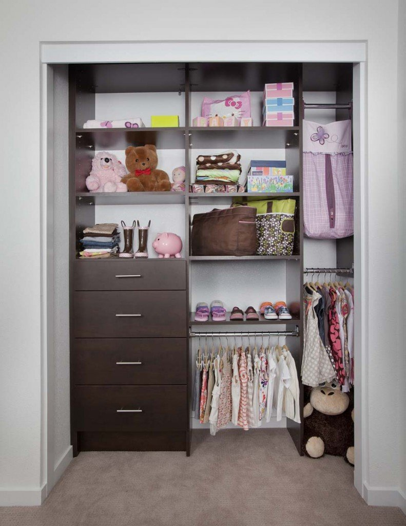 Kids Custom Closet System With Chocolate Pear Finish