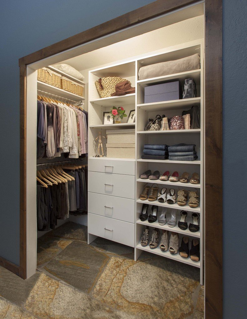 Small Reach In Closet With A White Finish