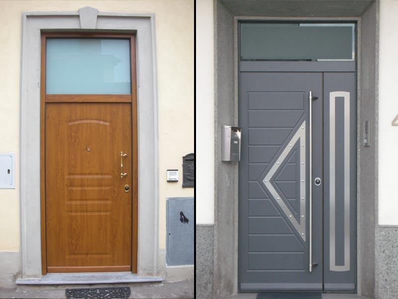 Porta grigia e porta in legno