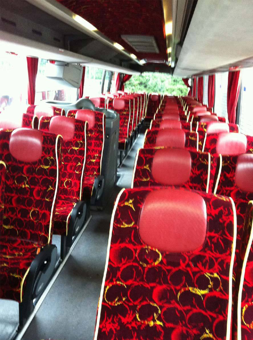 red seats of our minibus