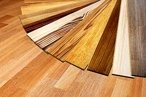 several laminate wood samples for floating floors