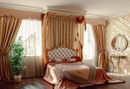 Elegant curtains in the bedroom