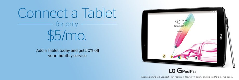 Connect a Tablet for only $5 a month
