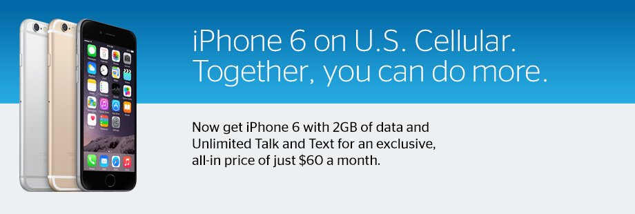 Get iPhone 6 with 2GB of data and Unlimited Talk and Text for an exclusive all-in price of $60 a month