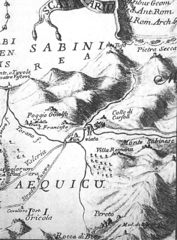 Historical map of Oricola