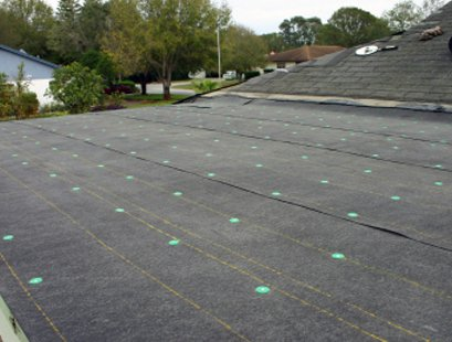 felt roof with markers in place