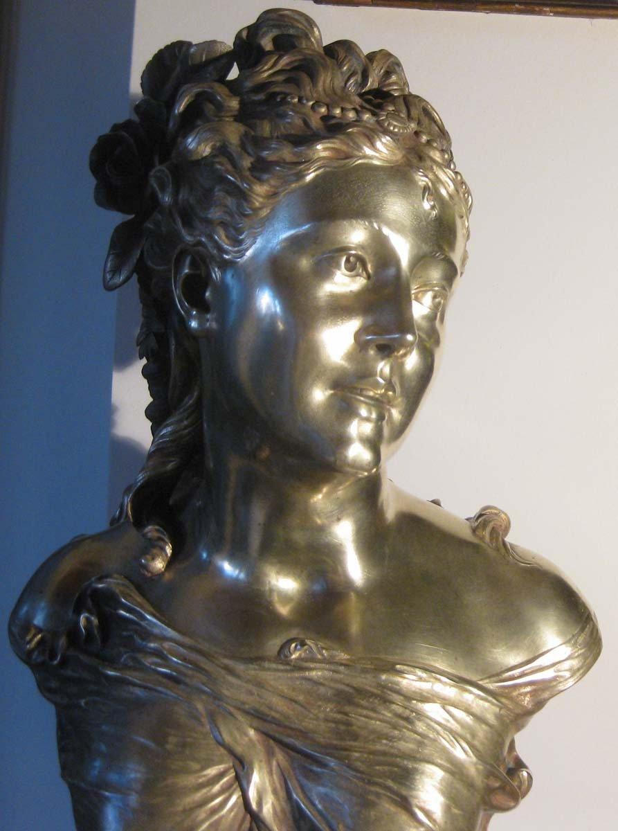 galerie-bosetti-antiquites sculpture bronze P.L.DETRIER, tête détail