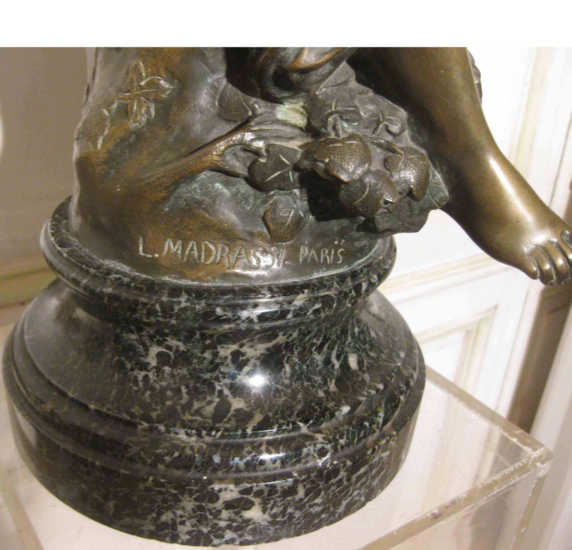 galerie-bosetti-antiquites, sculpture bronze L. MADRASSI signature bas sculpture