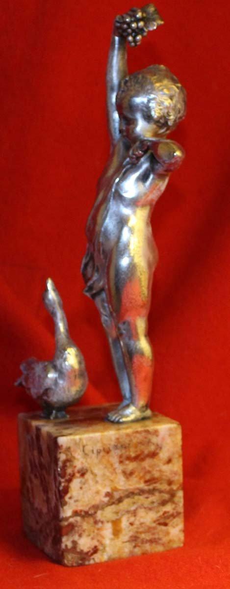 galerie-bosetti-antiquites, sculpture bronze argente CIPRIANI, profil gauche