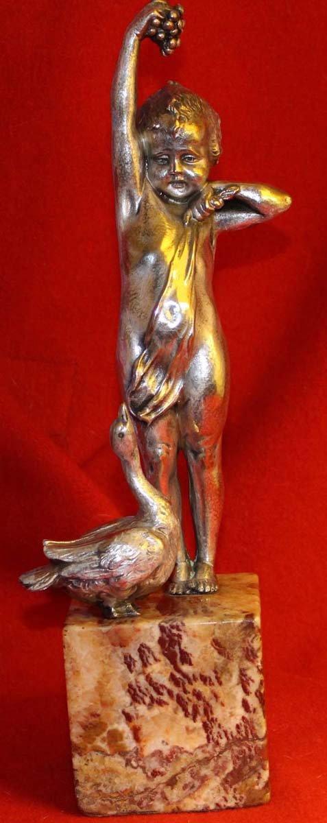 galerie-bosetti-antiquites, sculpture bronze argente CIPRIANI