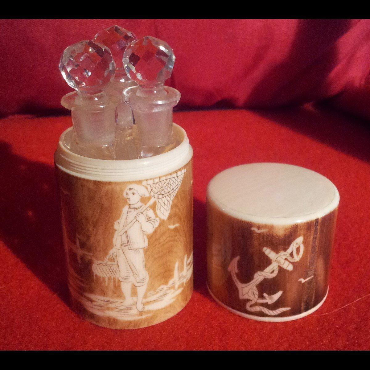 Bosetti-Antiquités coffret à sels verrerie ouvert