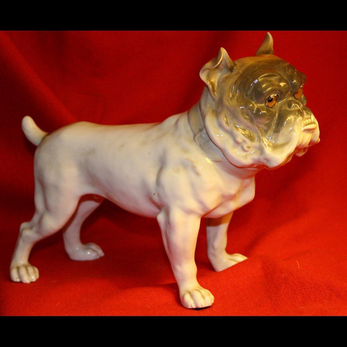 galerie-bosetti-antiquites veilleuse bull dog profil droit