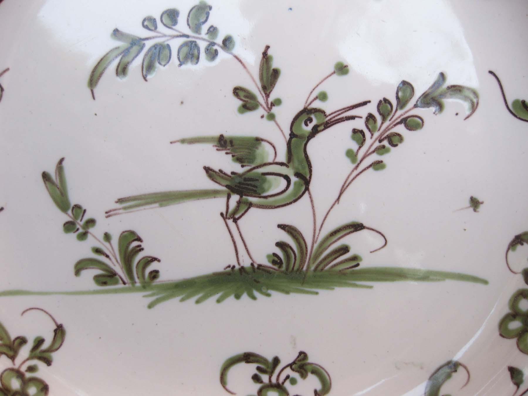 galeris-bosetti-antiquites,Moustiers camaIeu vert, oiseau