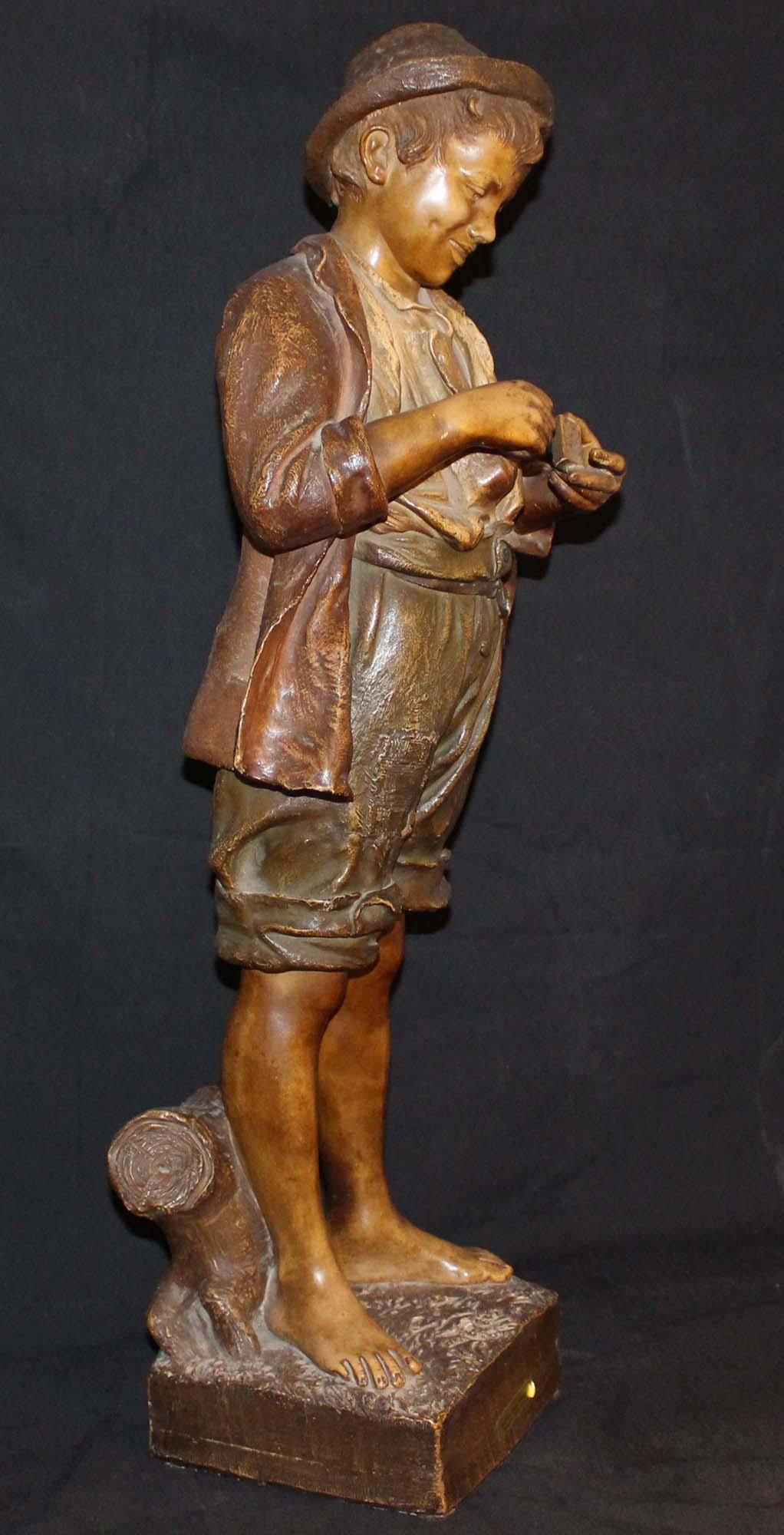 galerie-bosetti-antiquites, sculpture terre cuite GOLDSCHEIDER profil droit
