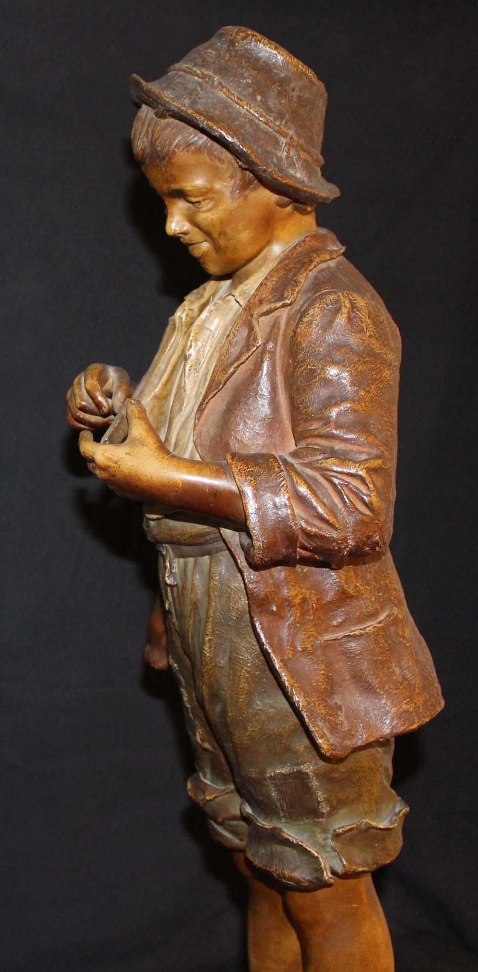 galerie-bosetti-antiquites, sculpture terre cuite GOLDSCHEIDER profil gauche