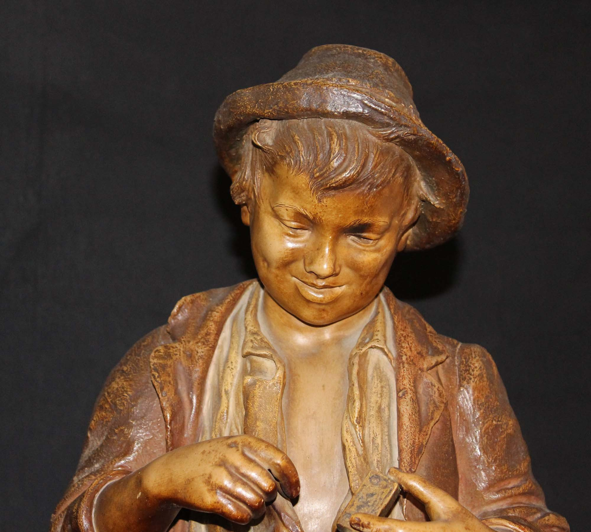galerie-bosetti-antiquites, sculpture terre cuite GOLDSCHEIDER tête