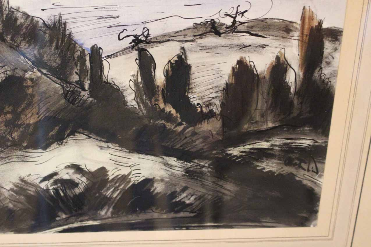 galerie-bosetti-antiquites paysage détaillé avec grands arbres