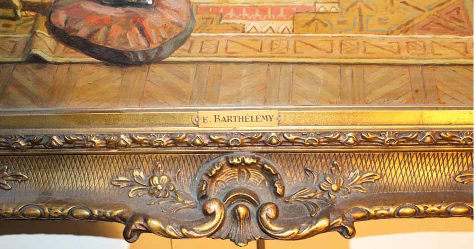galerie-bosetti-antiquites, scène d'interieur, plaque cuivre sur cadre