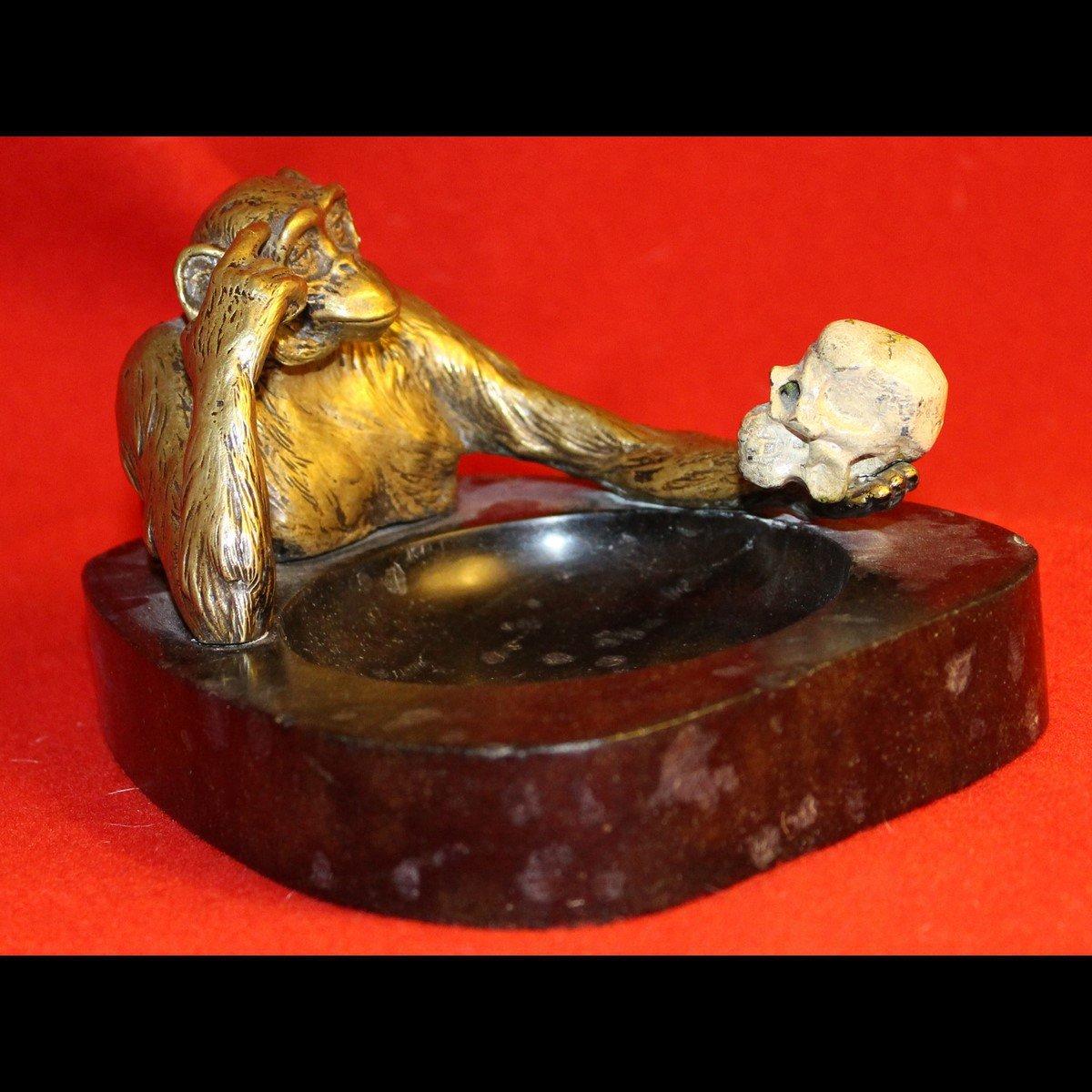 galerie-bosetti-antiquites, sculpture singe vanite, profil droit