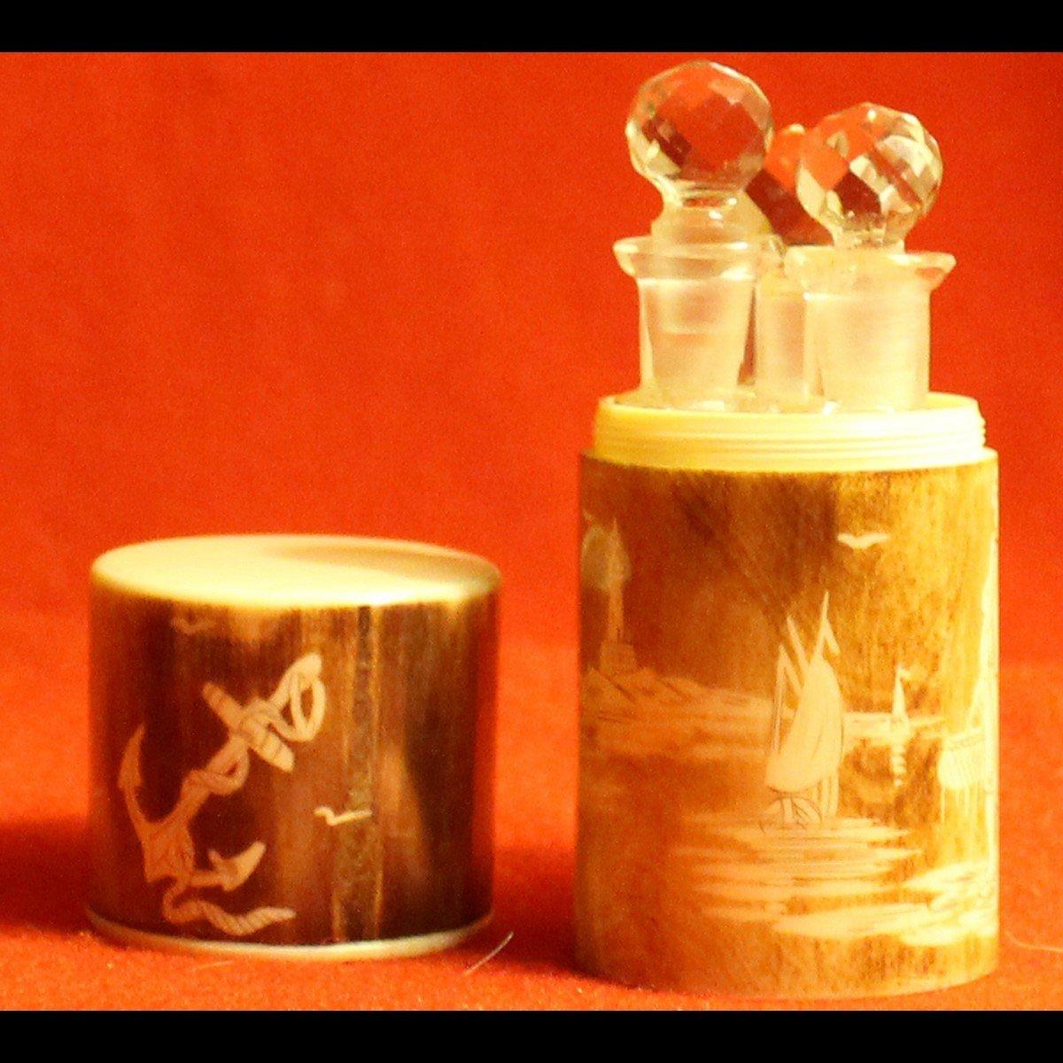 Bosetti-Antiquités coffret à sels verrerie 1