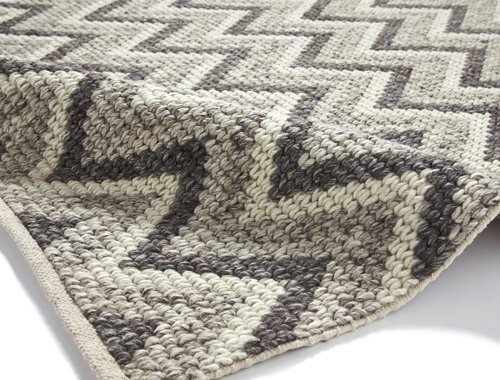 Closer view of the carpet with wave design