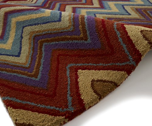 Brown & red wave design carpet