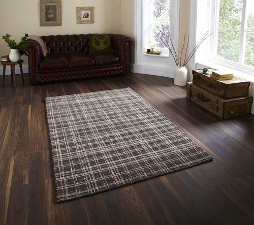 Check design carpet on a dark wooden flooring