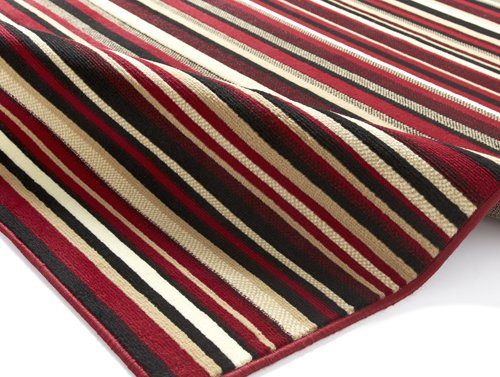 Rug with red, white and black color  horizontal line
