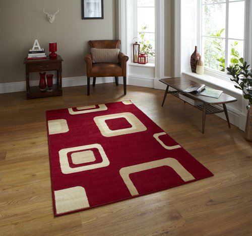 Red and beige color rug