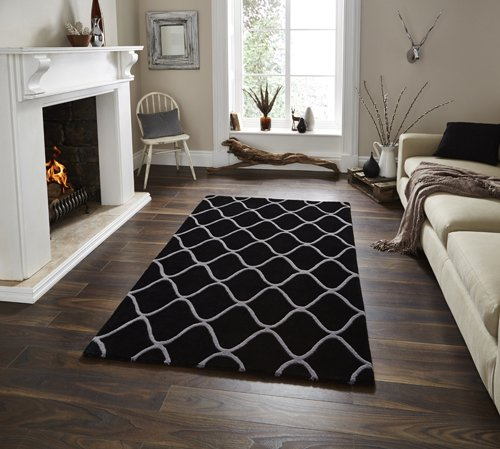 Black color carpet with white lines