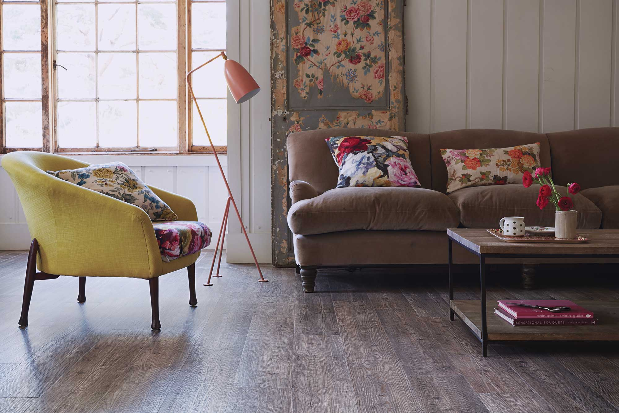 Furniture on a wooden flooring