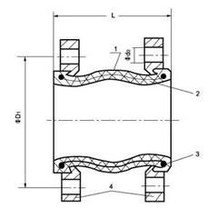 Flanged flexible coupling diagram