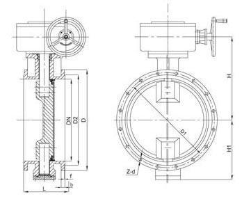 Double eccentric butterfly valve diagram