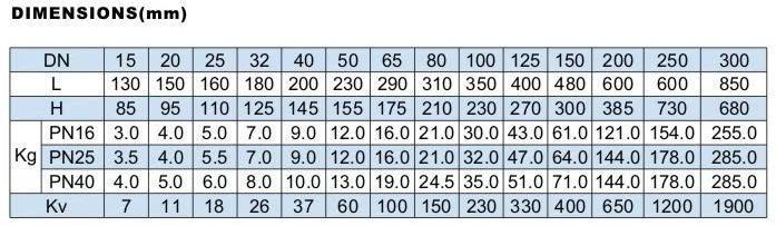 Y-strainer PN40 measurements
