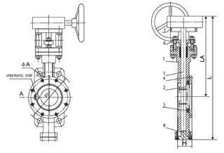 """High Performance"" butterfly valve diagram"